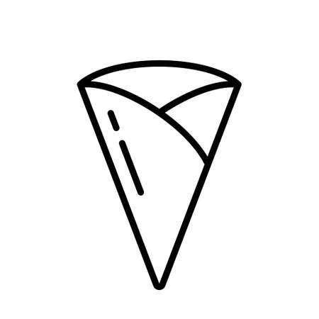 Crepe or empty cone. Linear icon of thin pancake without filling. Black simple illustration of wrapped triangle of fried dough without topping. Contour isolated vector logo on white background  イラスト・ベクター素材