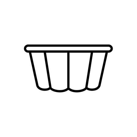 Fluted Cake Pan. Linear icon of Curly Pudding mold. Black simple illustration of cooking dish for baking dessert, pie, muffin. Kitchenware symbol. Contour isolated vector, white background