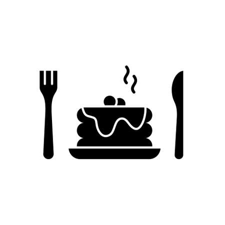 Stack of fluffy pancakes with sauce or honey. Silhouette pancakes with syrup, berry, fork, knife. Outline icon of classic american breakfast. Black illustration. Flat isolated vector, white background  イラスト・ベクター素材