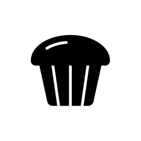 Cupcake silhouette icon. Outline logo of muffin for packaging design. Bakery or confectionery symbol. Black illustration of small fluted cake with fluffy top. Flat isolated vector, white background