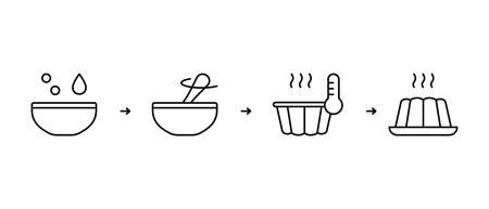 Instruction of cooking pudding or homemade muffin made from dry mix in Fluted Cake Pan. Baking process. Step by step recipe based on adding milk, water, powder, oil. Linear icons. Black contour vector