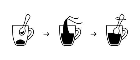 Instant coffee preparation, instruction for packaging. Basic steps to get finished drink from freeze-dried granulated coffee. Linear icon of kettle, cup, teaspoon. Contour isolated vector illustration  イラスト・ベクター素材