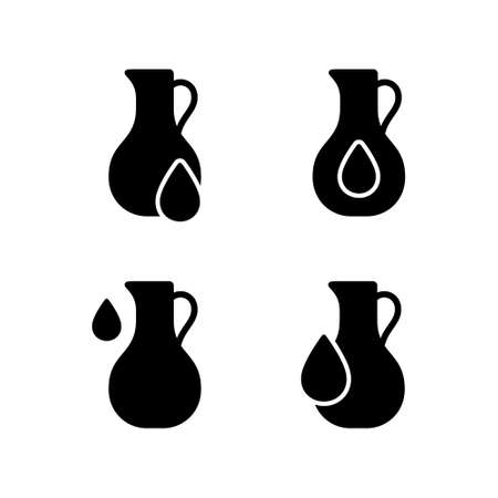 Vegetable oil. Silhouette icons set. Jug with drop. Healthy natural food supplement. Organic ingredient in cosmetics, cream. Black illustration for packaging design, eco product. Flat isolated vector