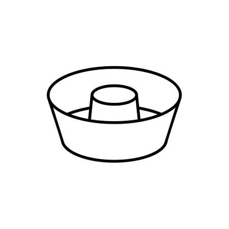 Angel Food Cake Pan. Linear icon of special round baking dish for airy sponge cake. Black simple illustration of mold for cooking dessert. Kitchenware symbol. Contour isolated vector, white background  イラスト・ベクター素材