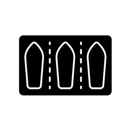 Cutout silhouette Vaginal suppositories in blister pack. Outline icon of medicine for rectal use. Black illustration of female contraceptive, treatment. Flat isolated vector on white background  イラスト・ベクター素材