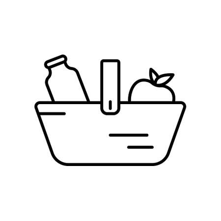 Food basket icon. Linear  of grocery shopping. Black simple illustration for market, store, shop. Contour isolated vector image on white background. Basket with bottle of milk and apple