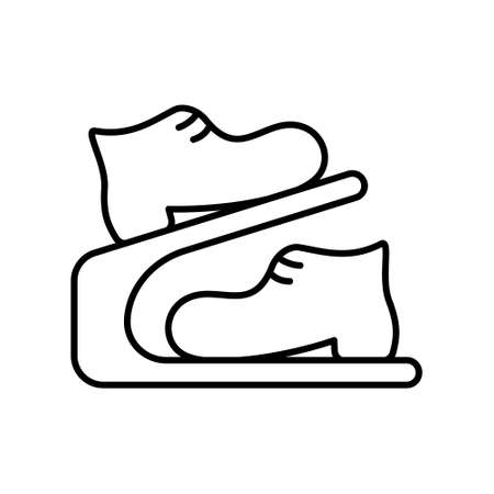 Shoe rack with boots. Linear icon of modern double storage. Black simple illustration of compact portable two-tier device for wardrobe. Contour isolated vector on white background  イラスト・ベクター素材