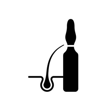 Silhouette Hair growth activator. Outline icon of ampoule with hair follicle. Black simple illustration of anti hair loss, stimulation medicine. Flat isolated vector emblem on white background