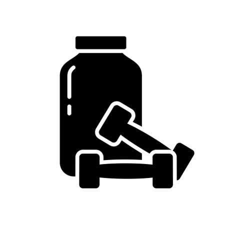 Cutout silhouette Can of sports nutrition and two dumbbells. Outline icon of muscle building protein whey. Black simple illustration. Flat isolated vector image on white background  イラスト・ベクター素材