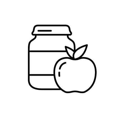 Apple baby food. Linear icon of complementary foods in jar. Black illustration of ready fruit purees in glass bottle. Contour isolated vector emblem on white background. Canned food or tinned goods