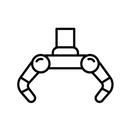 Robotic claw icon. Linear  of open grabber. Black simple illustration of mechanical arm for grabbing items, process automation, machinery. Contour isolated vector emblem on white background