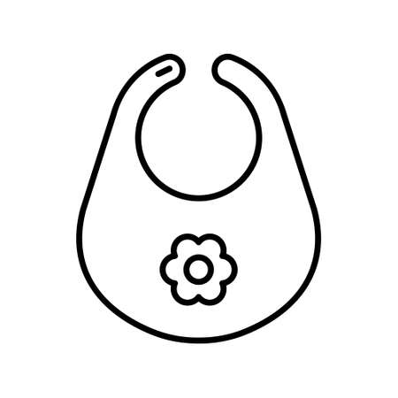 Baby bib with flower. Line art icon of feeding accessory. Black simple illustration of products for small children. Contour isolated vector image on white background  イラスト・ベクター素材