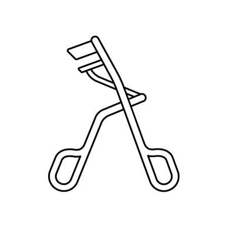 Eyelash curler icon. Linear  . Black simple illustration of metal tool for professional makeup. Contour isolated vector emblem on white background