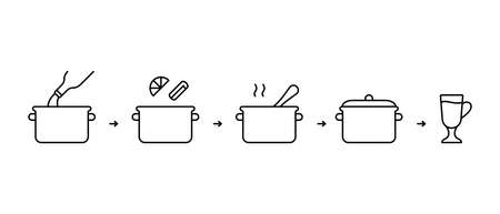 Mulled wine instruction. Basic steps of preparation homemade hot drink. Linear icon of saucepan, bottle, spices set, orange, spoon, glass. Cooking process on stove. Black contour vector illustration