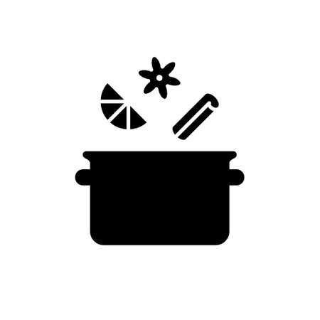 Silhouette Saucepan with spices. Outline icon of brewing process. Cooking mulled wine or compote on stove. Cinnamon stick, citrus slice, star anise. Black illustration. Flat vector, white background
