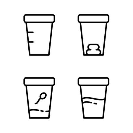 Set of medical test containers. Linear icon of laboratory analyzes of semen, feces, urine, empty jar. Black pictogram of sampling biomaterial. Contour isolated vector, white background Çizim