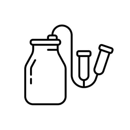 Vacuum milking machine icon. Line art logo of milker.