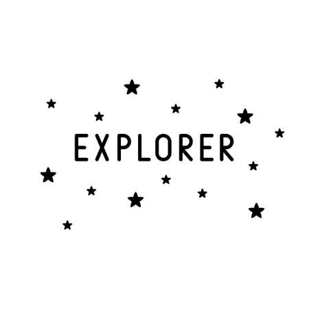 Explorer lettering with stars. Black graphic simple illustration. T shirt print for adults, mug, card. Minimalistic design of text in galaxy, cosmos. Flat isolated vector image on white background