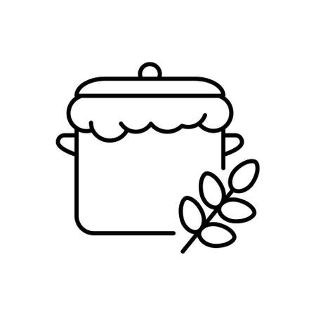 Raw puffed yeast dough, saucepan, lid, ear of wheat. Linear icon of homemade dough. Emblem for bakery products, bakeshop. Black illustration for fancy bread.