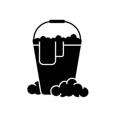 Cutout silhouette of Bucket with rag and soap suds. Outline icon of wet cleaning. Black illustration of mopping, disinfection, washing with detergents.
