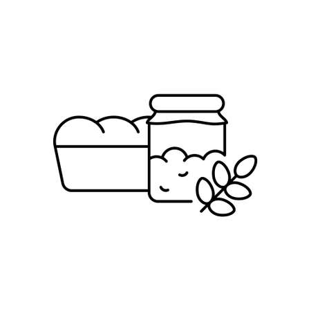 Yeast starter for wheat bread. Linear icon of sourdough in jar, loaf of bread, ear of grain. Black illustration of homemade natural bakery products. Contour isolated vector pictogram, white background