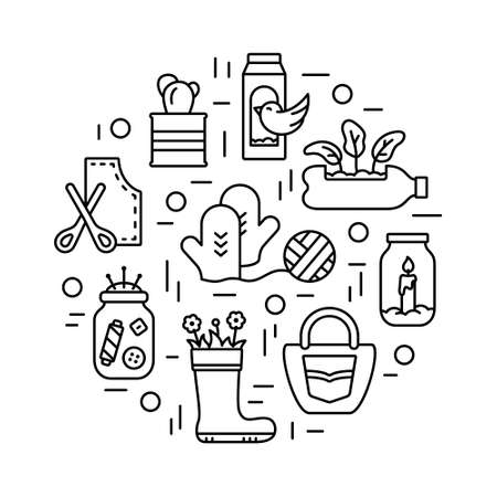 Handmade stuff. Round linear illustration of refusal to throw away old things, conscious use. Contour DIY emblem. Upcycling concept. Black icons set. Isolated vector print on white background