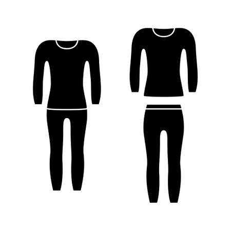 Silhouette set of thermal underwear, compression suit. Black icons of elastic garment for winter sport, fitness, pajamas. Unisex single pants, longsleeve. Flat isolated vector, white background Vecteurs