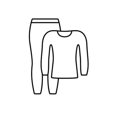 Thermal underwear set. Linear icon of pants and longsleeve. Black simple illustration of clothing for sports, outdoor activities, pajamas. Contour isolated vector pictogram, white background