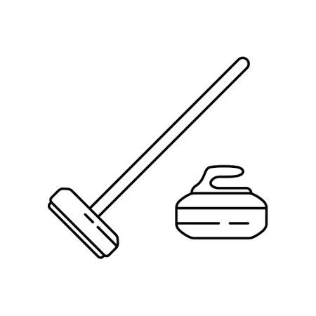 Set of curling stone and rectangular broom. Linear icon of sport equipment. Black simple illustration. Contour isolated on white background