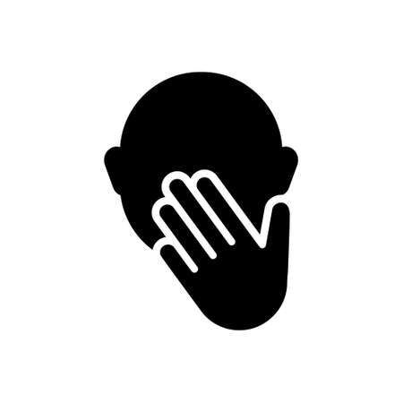 Silhouette icon of Cover mouth with hand while sneezing, touch face or not talk. Outline illustration of yawn out of boredom, close nose from stink, hygiene rules. Flat isolated vector pictogram Vector Illustration
