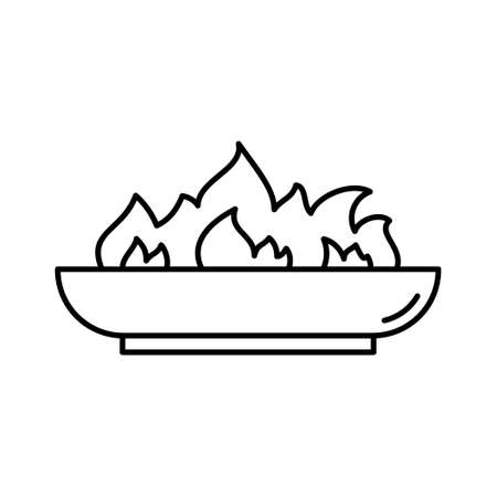 Outdoor Fire Pit icon. Linear of low bonfire bowl. Black simple illustration of campfire, accessory for backyard, picnic in nature. Contour isolated vector emblem on white background