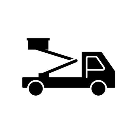 Silhouette Aerial platform. Outline icon of truck with basket. Black simple illustration of construction special equipment. Flat isolated vector pictogram, white background