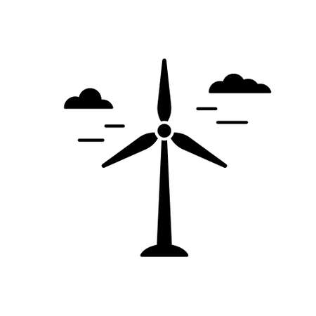 Silhouette Wind power plant. Outline icon of air green energy. Black illustration of electric station, windmill with clouds. Flat isolated vector on white background. Renewable natural resource emblem