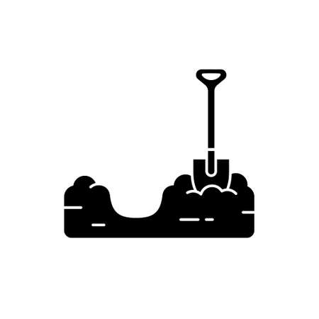 Silhouette Pit dug in ground with shovel. Soil preparation for planting. Piece of land with trench. Outline black illustration of gardening, excavation, bury. Flat isolated vector on white background