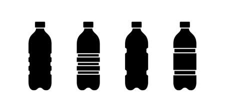 Plastic bottle silhouette icon set. Outline emblem of ribbed PET recycling packaging. Black simple illustration of tall container for water, liquid, oil. Flat isolated vector clipart, white background Иллюстрация