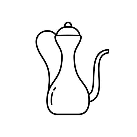 Eastern jug or kumgan. Linear icon of antique copper pitcher. Black simple illustration of arabic or muslim dishes with graceful handle, long thin spout. Contour isolated vector, white background