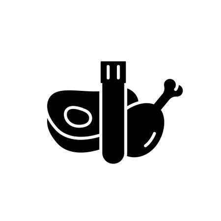 Cultured meat silhouette icon. Outline lab cultivation emblem. Test tube, chicken leg, steak. Future food black cartoon illustration. Flat isolated vector, white background. Nature conservation theme Çizim