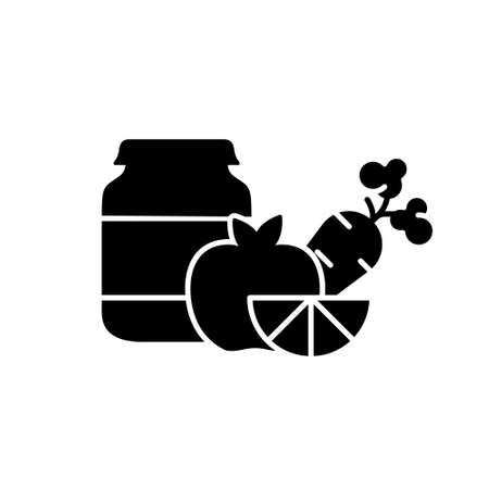 Silhouette of Food preservation. Glass jar with baby food and different fruits and vegetable. Outline icon of natural vegetarian puree. Flat isolated vector on white background. Canned or tinned goods Stock fotó - 154736851
