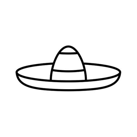 Sombrero icon. Linear of traditional mexican hat. Black simple illustration of broad-brimmed felt or straw accessory for head. Contour isolated vector emblem on white background