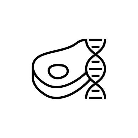 Lab grown meat. DNA strand and beef steak. Line art cultured meat icon. Synthetic future food. Black simple illustration. Contour isolated vector pictogram, white background. Alternative to real meat