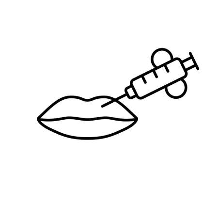 Lip injection. Line art icon of contour plastic. Black simple illustration of lip augmentation with fillers,  or hyaluronic acid. Contour isolated vector, white background. Beauty product emblem