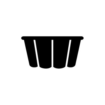 Curly Pudding mold. Silhouette icon of Fluted Cake Pan. Black simple illustration of cooking dish for baking dessert, pie, muffin. Kitchenware symbol. Flat isolated vector, white background