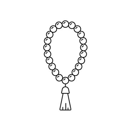Holy rosary. Linear prayer beads icon. Black simple illustration of religious accessory with tassel. Attribute of Christianity, Islam, Buddhism. Contour isolated vector emblem, white background Ilustração