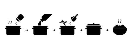 Silhouette steps for cooking ready-made food from flakes on stove. Instant mashed potatoes instruction. Outline icon of saucepan with boiling water, salt, milk, dry mix. Black flat vector illustration