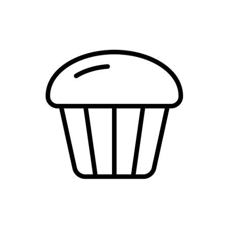 Cupcake icon. Linear  of muffin for packaging design. Bakery or confectionery symbol. Black simple illustration of small fluted cake with fluffy top. Contour isolated vector sign, white background