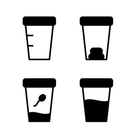 Silhouette icon of laboratory analyzes of semen, feces, urine, empty jar. Set of medical test containers. Black pictogram of sampling biomaterial. Flat isolated vector, white background
