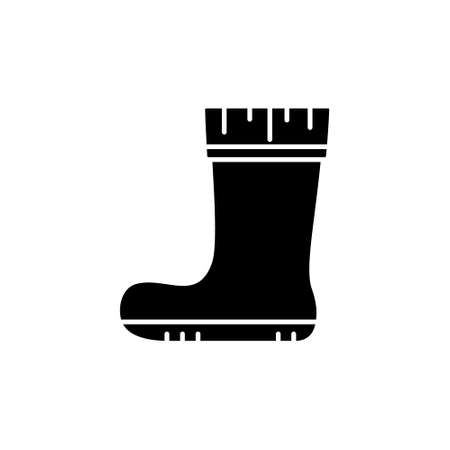 Silhouette Rubber boot. Autumn shoes for rainy weather, gardening, fishing. Outline icon. Black illustration of protection of feet from puddle, mud, bog. Flat isolated vector emblem, white background