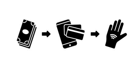 Silhouette Scheme of growth of payment methods. Outline icons. Set of paper money, smartphone, credit card, implant chip hand. Flat vector illustration