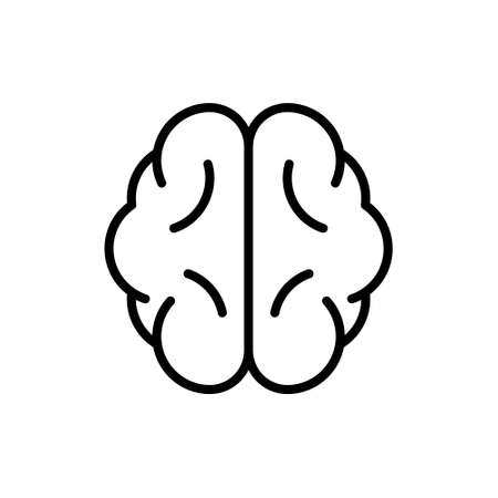 Brain icon. Comprehension symbol. Linear symmetrical human organ. Cartoon pictogram. Black illustration of mind, intellect, knowledge, education, solution. Contour isolated vector, white background