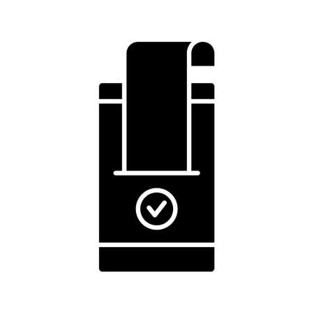 Electronic approved purchase. Silhouette icon of confirmed online payment. Mobile device or terminal, cash register receipt, acceptance sign. Flat isolated vector, black illustration, white background